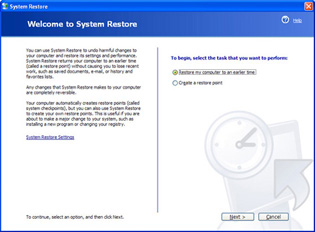 xp system restore