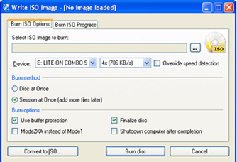 write ISO image
